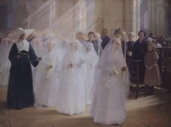 Чистые девушки-монахини в белых подвенечных платьях