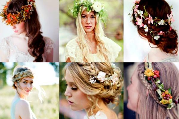 Прически для невесты с живыми цветами