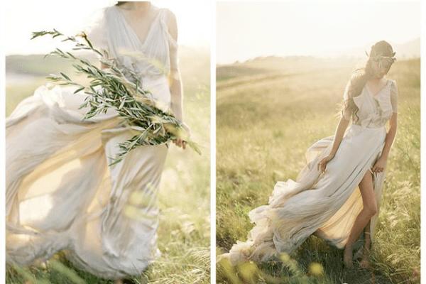 Наряд для невесты из струящейся ткани