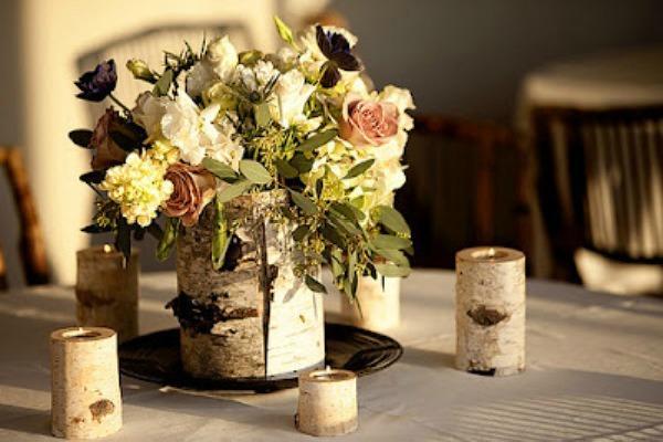 Декор из бересты для свеч и вазы
