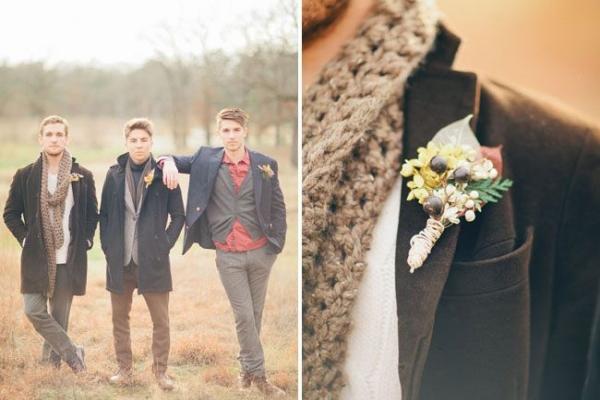 Подтяжки или шарф вокруг шеи - отличные аксессуары для жениха в стиле бохо