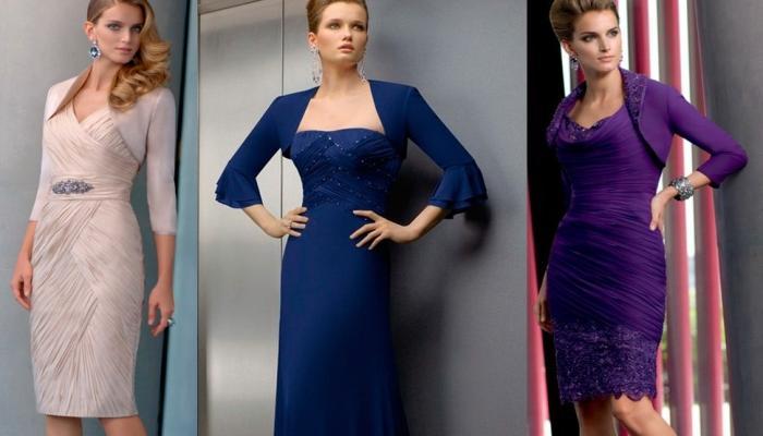 Строгие варианты нарядов для стройных девушек для посещения свадеб