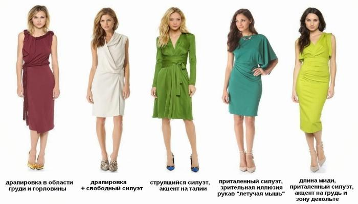 Варианты вырезов и рукавов на нарядных платьях для фигуры со слабо выраженной талией