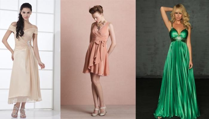 Платья для девушек-гостей на свадьбах с узкими плечами