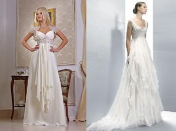 Интересные варианты длинных платьев ампир с красиво подчеркнутым бюстом