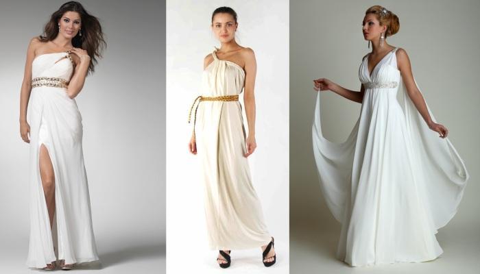 Варианты длинных греческих платьев с золотистыми поясами