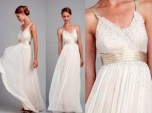 Легкое и воздушное свадебное платье с золотым поясом в греческом стиле