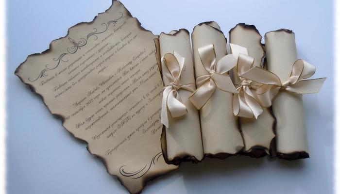 Свитки-приглашения на свадьбу в старинном стиле с обожженными краями