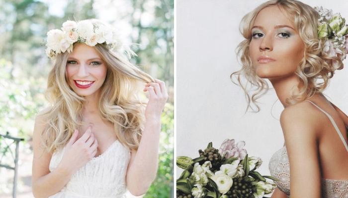ВЕнки и крупные цветы в волосах отлично подчеркнут общий стиль свадьбы