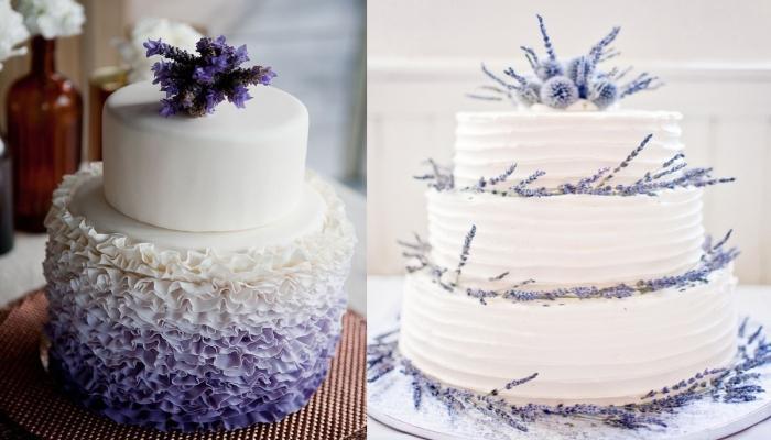Торт можно украсить цветами или листьями лаванды, а можно и просто смазать кремом тематических цветов