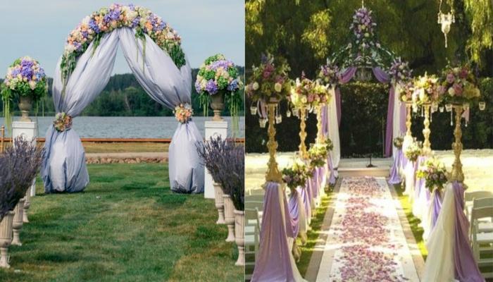 Свадебную арку лучше всего украсить лавандой и другими цветами пастельных оттенков