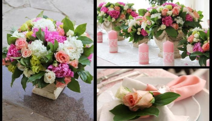 Обязательно присутствие ваз и кашпо с красивыми и нежными цветами