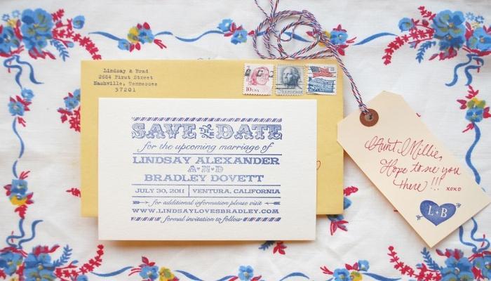 Для свадьбы в американском ретро лучше подбирать строгие карточки-приглашения