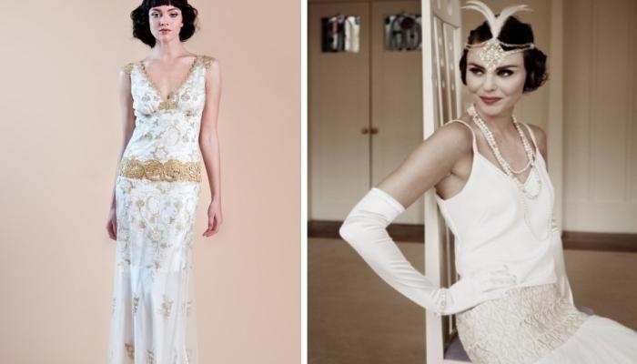 Отличные варианты платьев для американской ретро-свадьбы - с заниженной талией