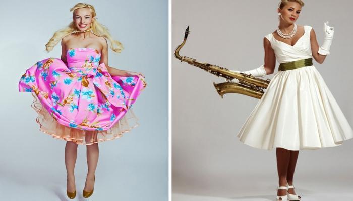 Стиляжные платья обязательно должны иметь форму песочных часов и яркие цвета