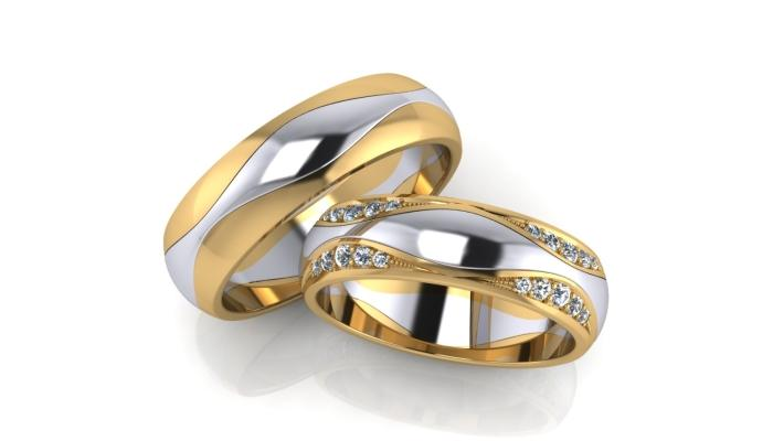 Обручальные кольца из комбинированного золота от известного бренда