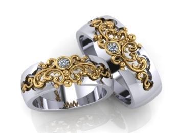 Роскошные узорные кольца из комбинированного золота с бриллиантовой вставкой