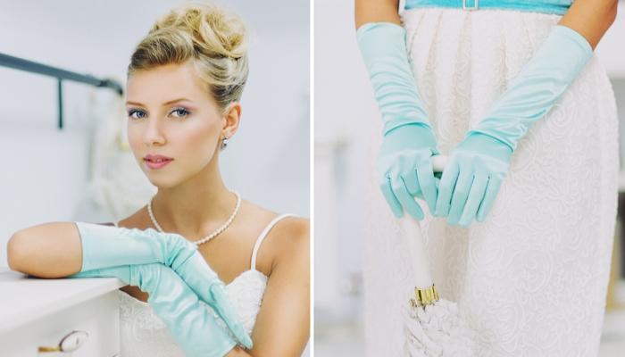 Аксессуары для тематической свадьбы - бирюзовые длинные перчатки и жемчужное ожерелье невесты