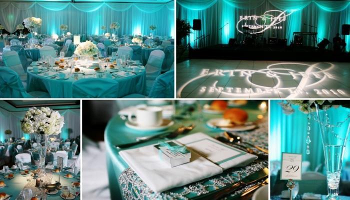Эффектное оформление зала и столов для гостей в стиле тиффани