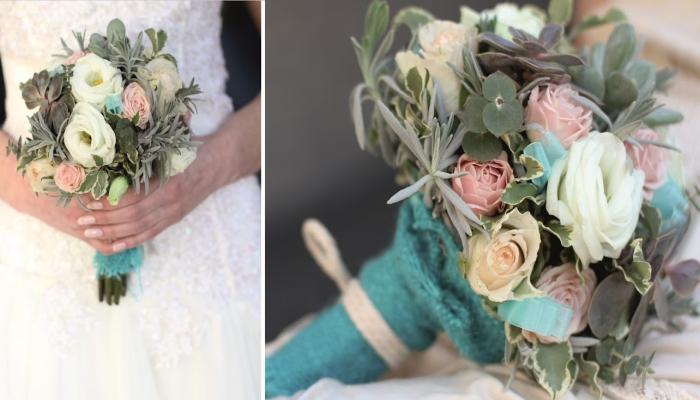Букет невесты в стиле ретро с вставками из искусственных цветов