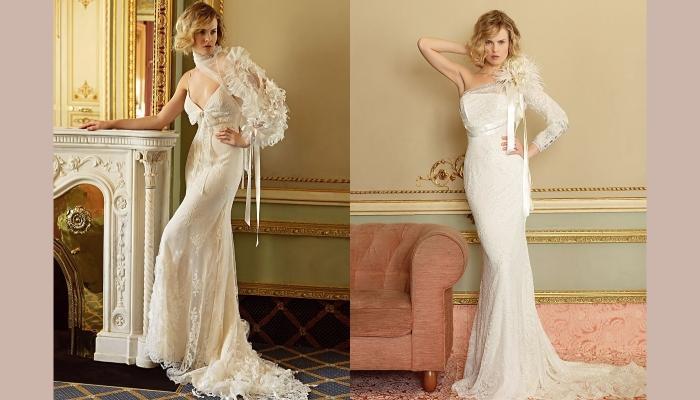 Два вида свадебных платьев с одним рукавом и зауженной юбкой