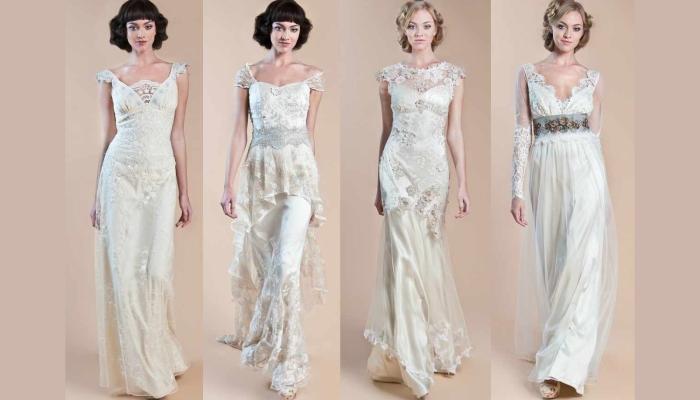 Четыре симпатичных длинных прямых платья в винтажном стиле белого цвета