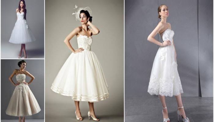 Варианты укороченных винтажных платьев для невест - чуть ниже колена с широкой юбкой