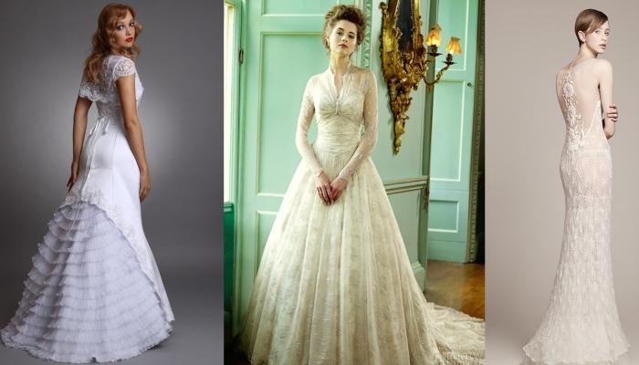 Винтажные свадебные платья с широкой юбкой, короткими и длинными рукавами и без рукавов