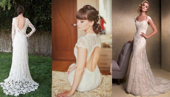 Варианты длинных свадебных платьев с открытой спиной и декольте