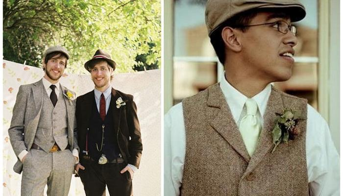 Элементы костюмадля жениха на винтажной свадьбе
