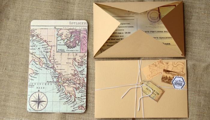 Пригласительное в винтажном стиле в виде письма, отправленного морской почтой