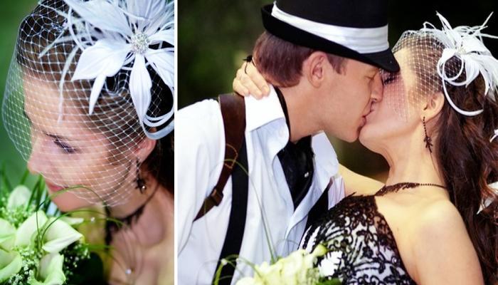 Элегантная шляпка с короткой вуалью для невесты и стильная шляпа для жениха