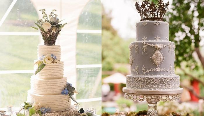 Варианты высоких трехъярусных тортов для свадьбы в стиле винтаж