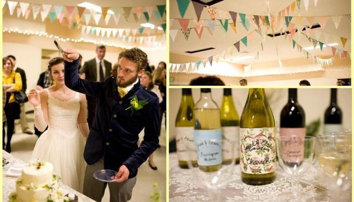 Подходящие тарелки и украшение бутылок с шампанским