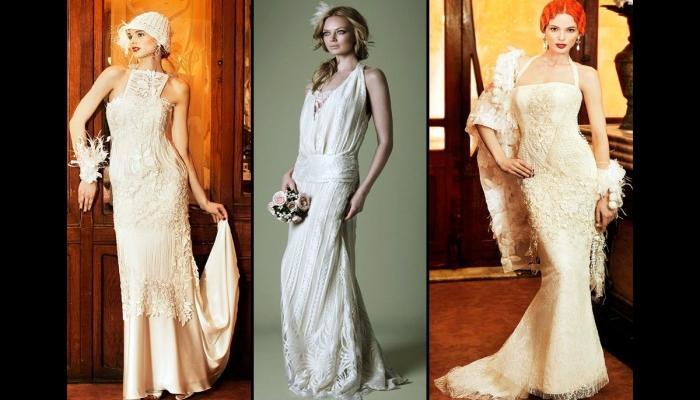 Элегантные варианты длинных платьев в стиле 20 века для невесты