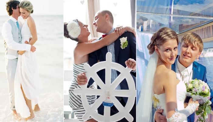 Несколько вариантов нарядов для жениха и невесты в морской тематике