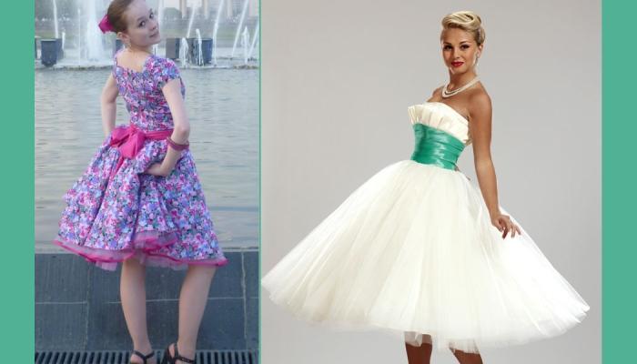 Широкая или узкая лента на талии - характерная черта стиляжных платьев