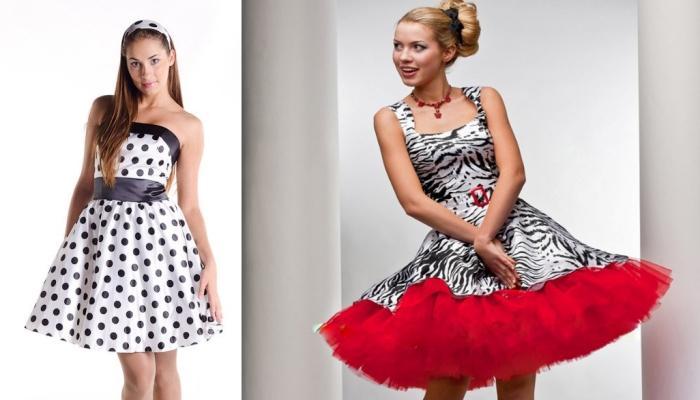 Два ярких платья с многослойными юбками в стиляжном стиле