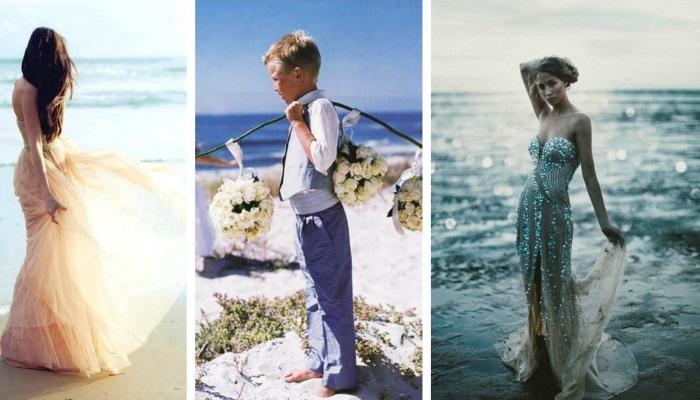 Интересные длинные платья в морском стиле и наряженный гость-мальчик