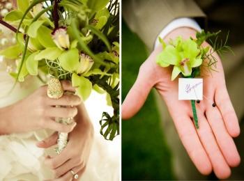 Букет и бутоньерку изготавливают из редких, о очень красивых зеленых цветов