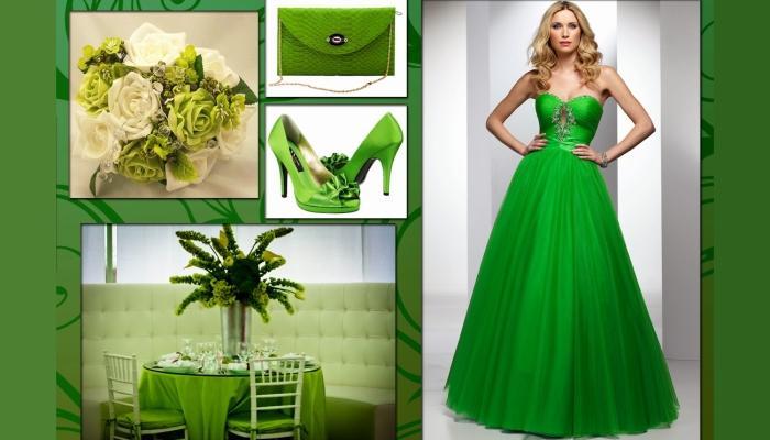 Зеленое платье отлично подойдет, однако на него решится не каждая невеста