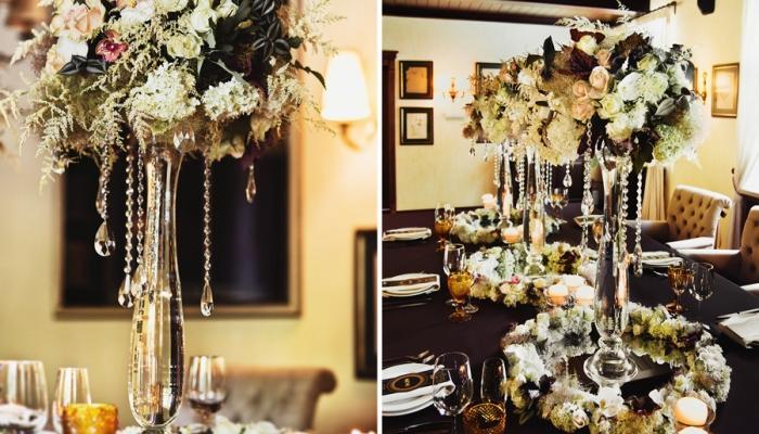 Черное, белое, золотое и обязательно хрустальное - вот все, что нужно для оформления зала