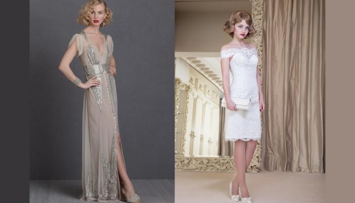 Длинное телесное и короткое белое платья для невест на свадьбе в стиле Гэтсби