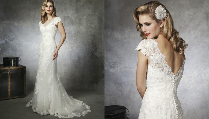 Скромное белое платье невесты арт-деко
