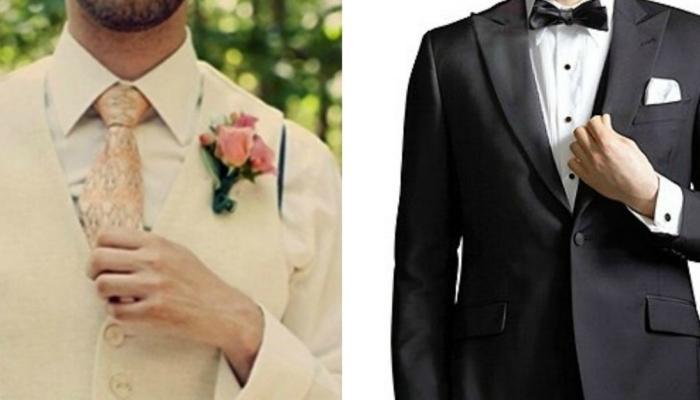 Традиционный черно-белый или белый костюм прекрасно подойдет жениху