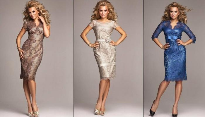 Противницам платьев длиной макси подойдут красивые наряды до колен или чуть ниже