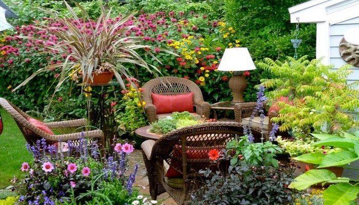 Живописные деревья и цветы в саду