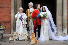 свадебное фото Кейт, принца и  английской королёвы