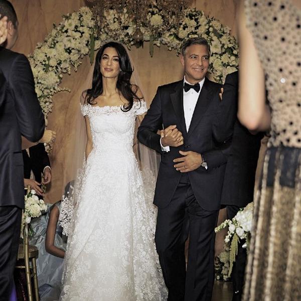 свадебное фото Джорджа и Амаль